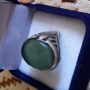 انگشتر یشم سبز معدنی اصل
