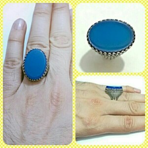 انگشتر فاخر عقیق آبی بسیار خوشرنگ و فوق العاده-تصویر 4