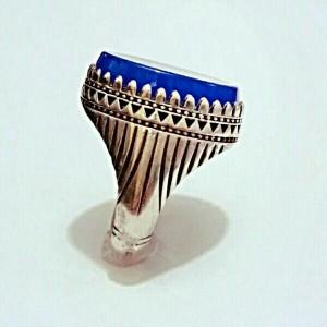 انگشتر فاخر عقیق آبی بسیار خوشرنگ و فوق العاده-تصویر 2