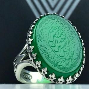 انگشتر عقیق سبز حکاکی شده