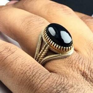 انگشتر عقیق یمنی مشکی اصل-تصویر 2