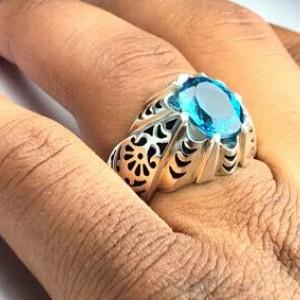 انگشتر توپاز آبی اصل-تصویر 2