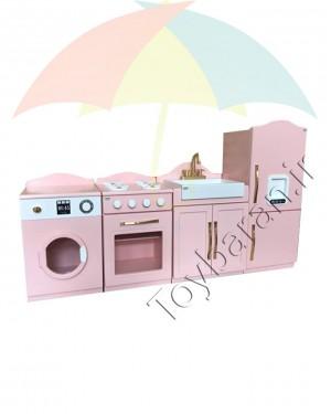 آشپزخانه چوبی کودک 4 تکه-تصویر 2