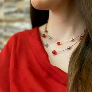 گردنبند دو زنجیره Argento e rosso