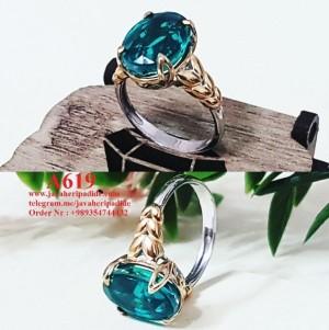 انگشتر زنانه با سنگ تریپلیت سبز-تصویر 2