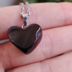 گردنبند عقیق دودی طرح قلب-تصویر 3