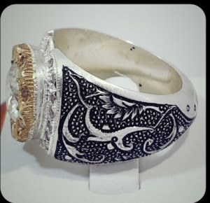نگین موزینایت اصل(الماس روسی) سفید و پاک رکاب نقره-تصویر 2