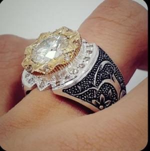نگین موزینایت اصل(الماس روسی) سفید و پاک رکاب نقره-تصویر 5