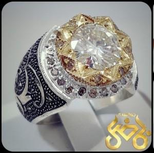 نگین موزینایت اصل(الماس روسی) سفید و پاک رکاب نقره-تصویر 4