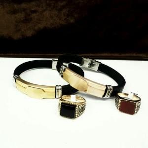 انگشتر و دستبند چرمی