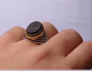 انگشتر عقیق مشکی خطی-تصویر 2