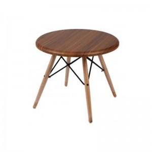 میز عسلی گرد با پایه ایفلی چوبی استیل هامون