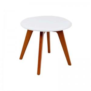 میز عسلی گرد با پایه چوبی استیل هامون