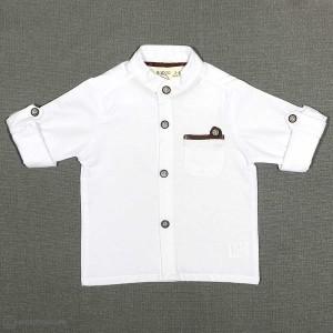 پیراهن پسرانه یقه ایستاده پارچه جودون سفید-تصویر 2