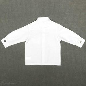 پیراهن پسرانه یقه ایستاده پارچه جودون سفید-تصویر 3