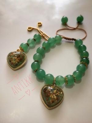 ست دستبند و گیره رنگ سبز
