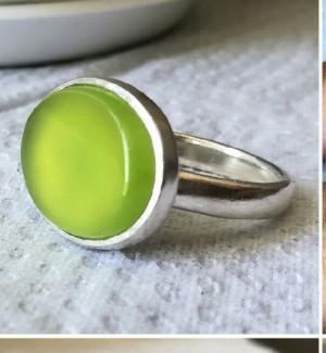 انگشتر عقیق سبز لیمویی