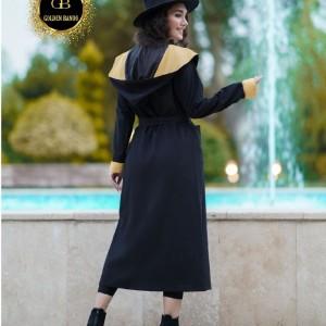 مانتو زنانه میکرو مدل مانتو ماکسی کلاهدار دورنگ-تصویر 5