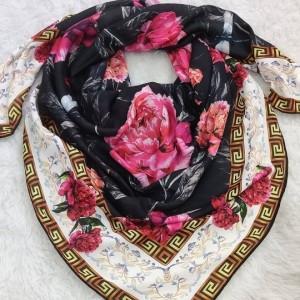 روسری گلدارحریرکرپ