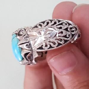 انگشتر دستساز نقره فیروز-تصویر 3
