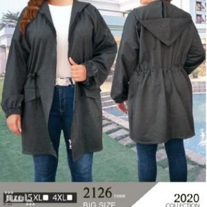 سوییشرت مانتویی جلو زیپ کلاه دار بیگ سایز (جیب نما)