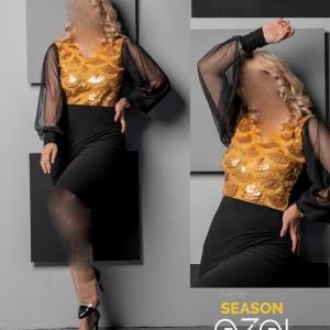 پیراهن مهمانی زنانه کرپ مدل گلاراتونیک ایزل