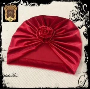 کلاه توربان مخمل جلو گلدار