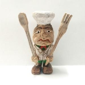 مجسمه چوبی یا آدمک چوبی طرح آشپز یا سرآشپز در رستوران , chef , food
