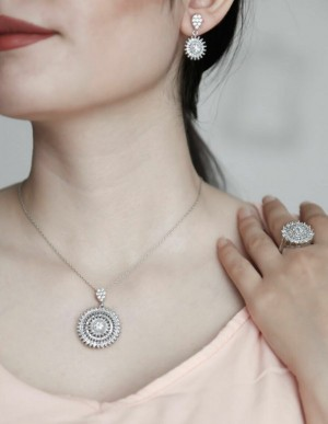 نیم ست جواهری نقره