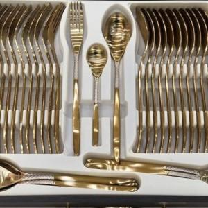 سرویس قاشق و چنگال 24 نفره طلایی