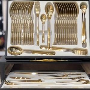 سرویس قاشق و چنگال 24 نفره طلایی-تصویر 4