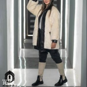 پالتو پوست ترکیب با چرم مدل لینزا