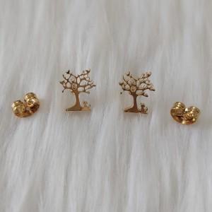 گوشواره زنانه مدل میخی طرح درخت کد tre110-تصویر 3