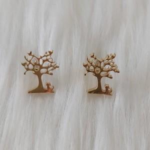 گوشواره زنانه مدل میخی طرح درخت کد tre110
