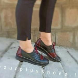 کفش مدل شانلی تمام چرم مشکی زرشکی