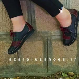 کفش مدل شانلی تمام چرم مشکی زرشکی-تصویر 3