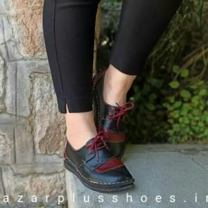 کفش مدل شانلی تمام چرم مشکی زرشکی-تصویر 2
