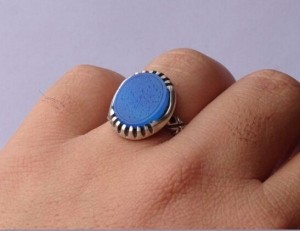 انگشتر عقیق آبی خطی وان یکاد-تصویر 2