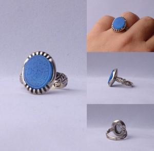 انگشتر عقیق آبی خطی وان یکاد-تصویر 5