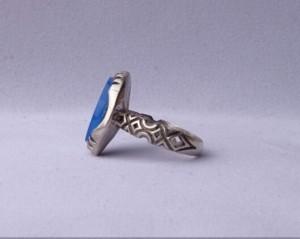 انگشتر عقیق آبی خطی وان یکاد-تصویر 3