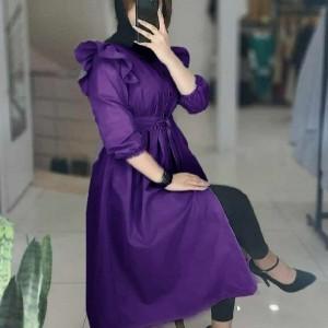 مانتو زنانه داکرون مدل مانتو بلند عروسکی دکمه دار
