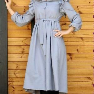 مانتو زنانه داکرون مدل مانتو بلند عروسکی دکمه دار-تصویر 2