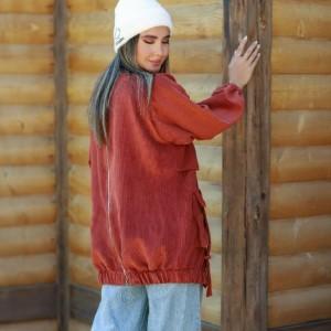 مانتو زنانه مخمل مدل اسپرت-تصویر 3