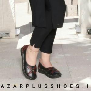 کفش مدل النا تمام چرم مشکی زرشکی-تصویر 2