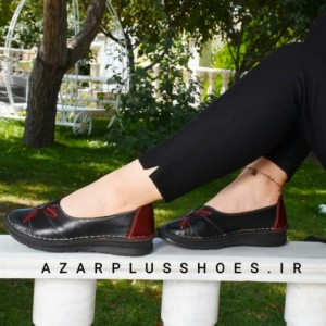 کفش مدل النا تمام چرم مشکی زرشکی