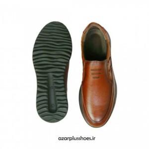 کفش مجلسی مدل اسپورت تمام چرم سناتور عسلی-تصویر 3