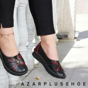کفش مدل النا تمام چرم مشکی زرشکی-تصویر 3