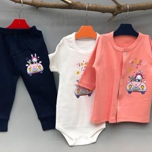 سه تیکه نوزادی خرگوش ماشین سوار-تصویر 2