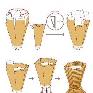 کاردستی کاغذی سه بعدی گلدان حصیری 1-تصویر 2