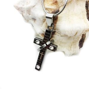 آویز استیل صلیب نگین دار-تصویر 2
